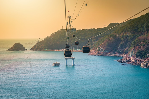A cable car over the water in busan, south korea