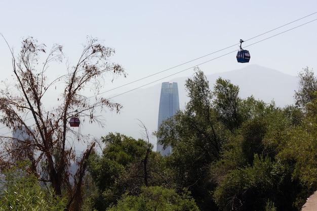 サンティアゴの建物のランドマークを背景にしたサンクリストバル山公園のケーブルカー