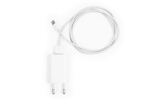 Cable phone chargers isolated on a white
