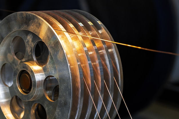 Cable reel with copper wire in cable factory