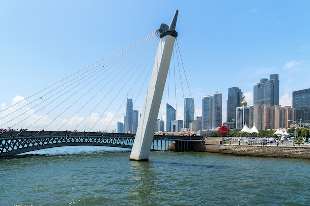 Cable-stayed bridge and modern urban architecture in qingdao, china