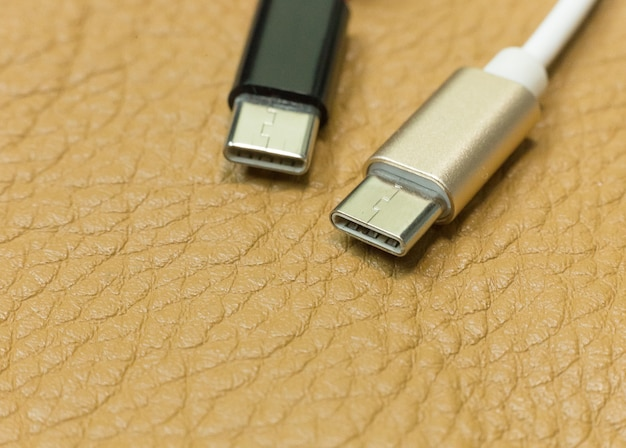 Cable usb type c it connection device close up image.