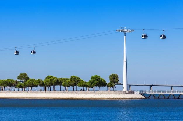 リスボン、中央ポルグガルの海洋水族館近くのケーブルウェイ