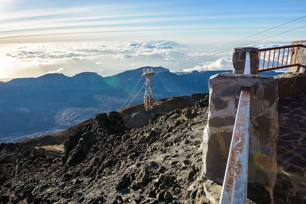 테네리페 섬의 테이데 화산 케이블카 - 카나리아 스페인. 테이데 화산 케이블카.
