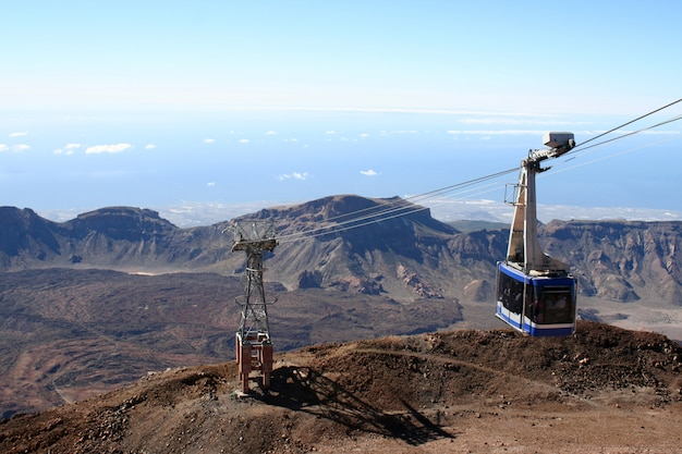 Cableway on the volcano teide in tenerife island