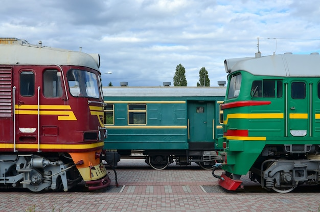 Cabs of modern russian electric trains. side view of the of