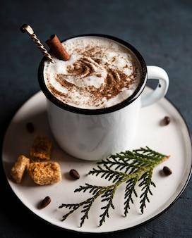 Какао рождество корица дерево уютный деревянный фон
