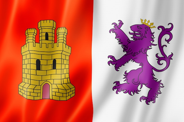 Caceres province flag, spain waving banner collection. 3d illustration