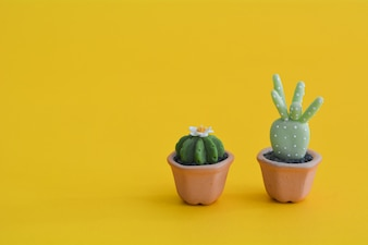 Cactus abstract minimal yellow background, Nature concept