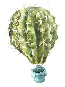 Cactus air balloon watercolor