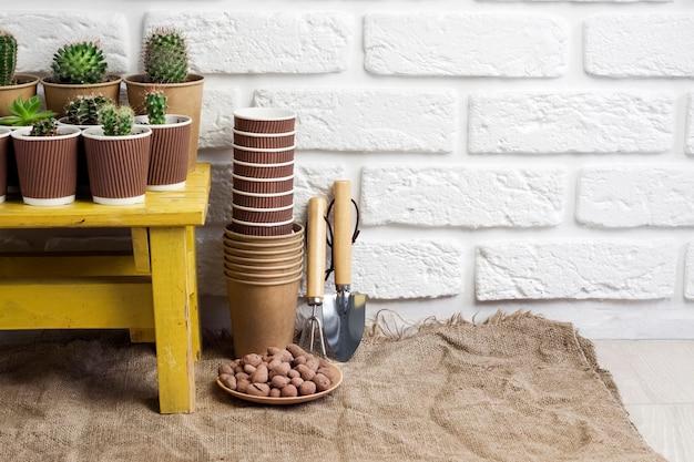 선인장과 즙이 많은 식물은 작은 노란색 테이블 미니어처 정원 도구에 있는 종이컵에 수집합니다. 집과 마당