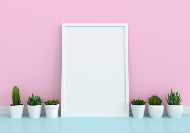 Cactus and blank photo frame