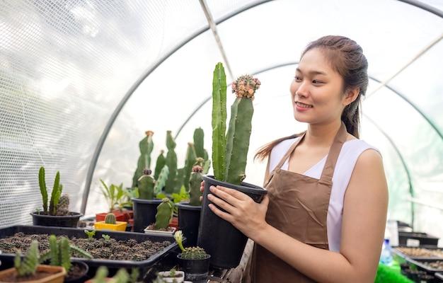 Садоводство кактусов - популярное времяпрепровождение среди азиатских женщин.