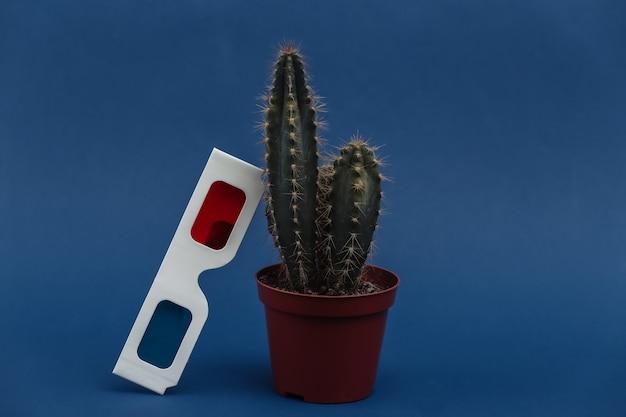 고전적인 파란색 배경에 3d 안경이 있는 냄비에 선인장