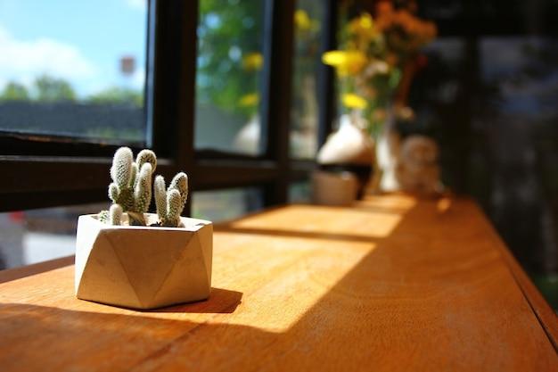 白い土鍋のサボテンは、コーヒーレストランで木の棚のウィンドウの横に飾る
