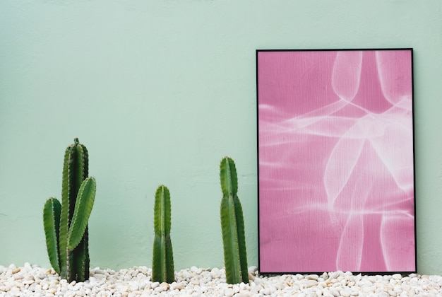 Cactus and photo frame