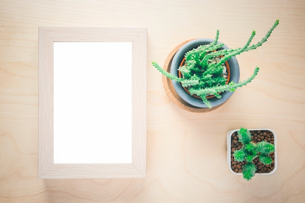 Cactus in pot and blank photo frame on wooden table