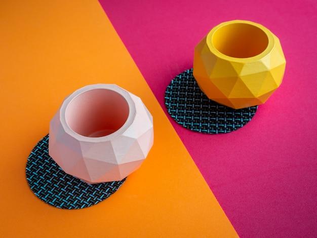 Кактус горшок. бетонный горшок. современная геометрическая бетонная сеялка.