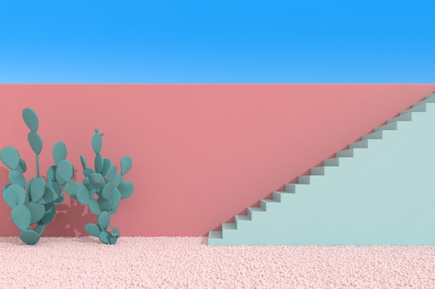 Cactus and staircase on blue sky background