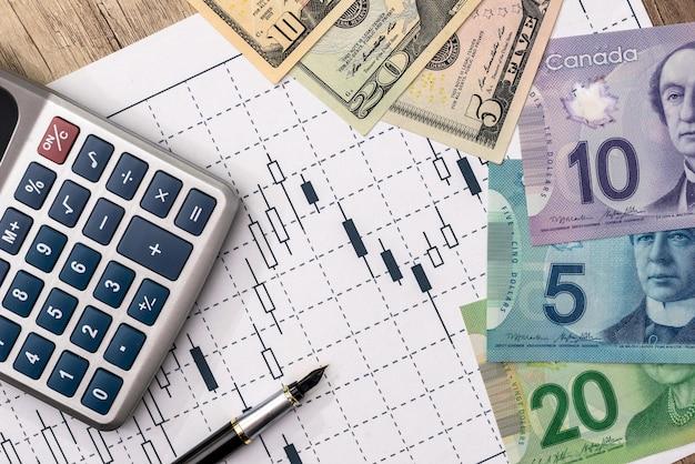 비즈니스 그래프, 펜, 계산기와 cad 및 usd 달러