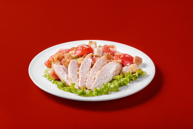 Caesar salad with chicken for the menu