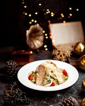 Caesar salad with fried chicken