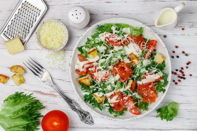 Caesar salad with salted salmon