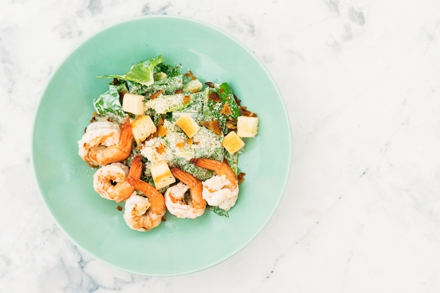 Caesar salad with shrimp or prawn