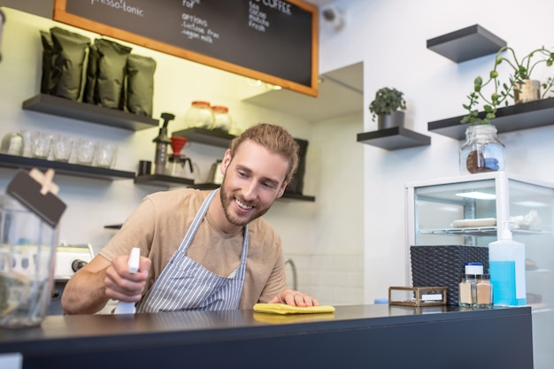 카페, 바 카운터. 작은 카페에서 바의 표면을 부드럽게 닦는 줄무늬 앞치마에 웃는 젊은 수염 난된 남자