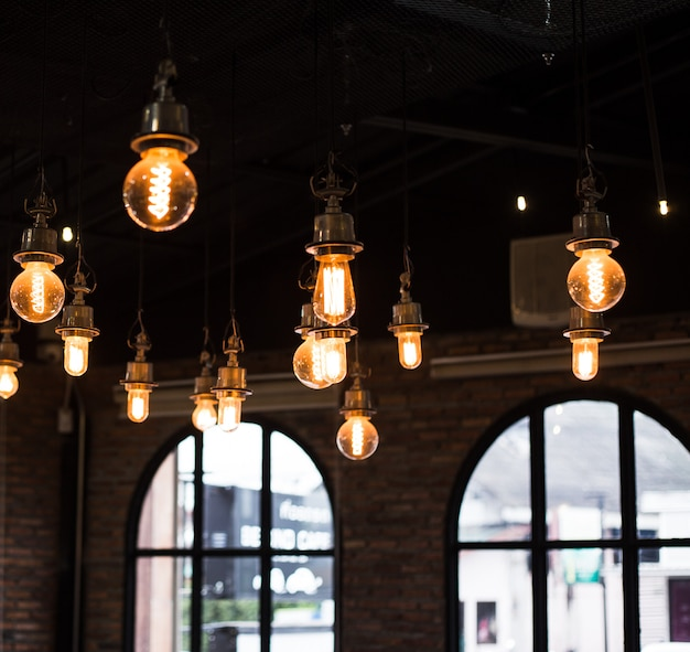 Cafe interior lamp light, loft vintage style. square photo