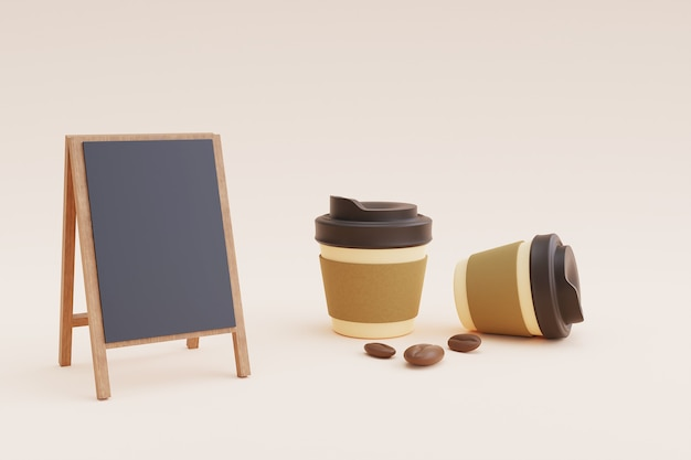 Cafe menu mockup with paper cup and beans