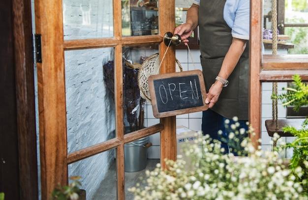 Cafe open shop retail приветственное уведомление розничная торговля