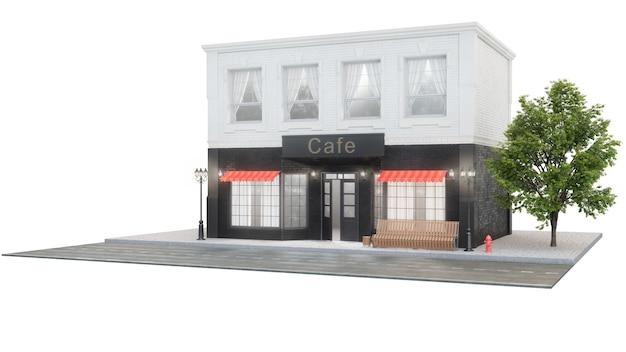 카페 또는 커피 숍. 도로 근처 건물 외관