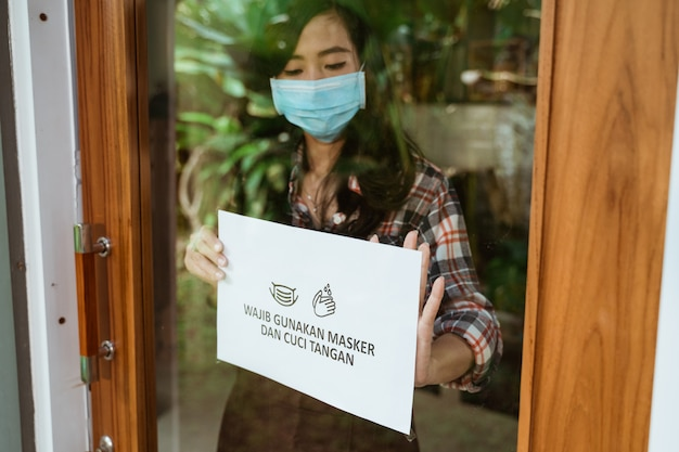 Cafe and shop new normal coronavirus outbreak sign