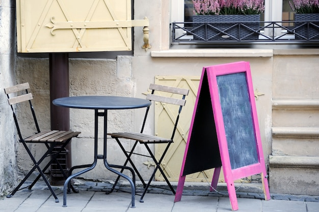Cafe on street in lviv city (ukraine)