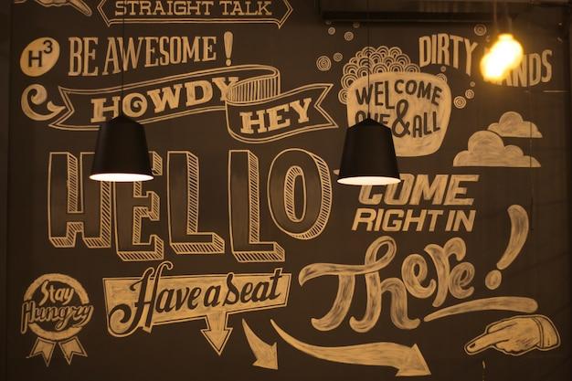 Cafe wall graffiti