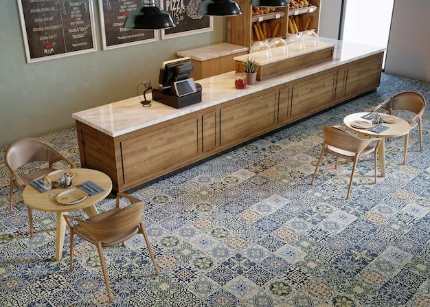 나무 책상, 나무 테이블, 나무 의자가있는 카페