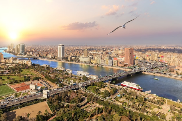 Cairo and the nile view, sunset photo, egypt.