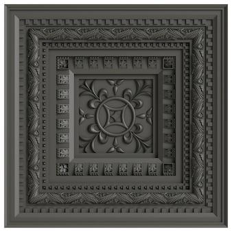古典的な天井caisson.3dレンダリング