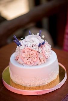 Cake at a banquet close-up. dessert.