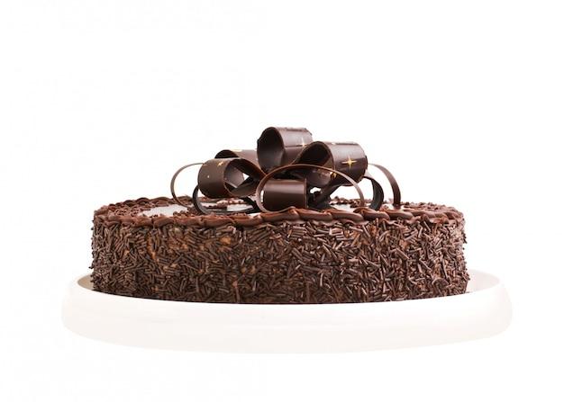 白い背景で隔離のケーキチョコレート