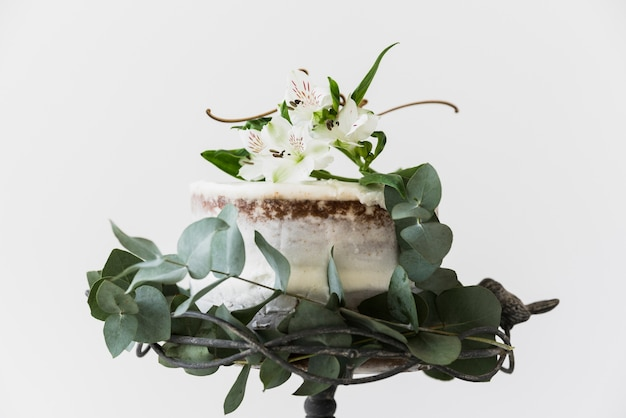 Cake decorated with alstromeria flowers and green leaves on white background