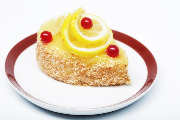 Cake decorated with lemon close up picture