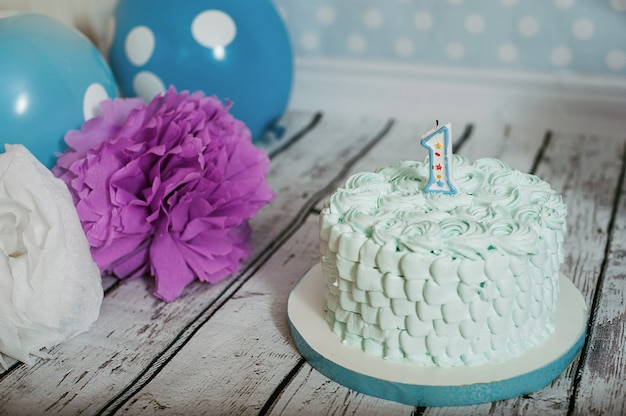Cake for the first birthday. scenery
