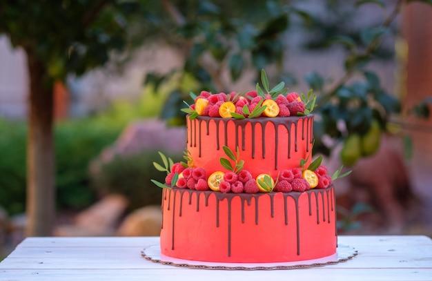 サマーガーデンの白い木製のテーブルに赤いクリームとラズベリーと2層のケーキ
