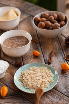 Cake ingredients with walnuts