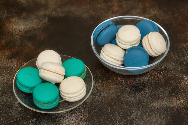 Cake macaron or macaroon on brown, almond cookies
