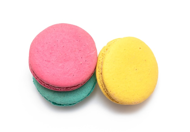 Cake macaron or macaroon or french macaroon isolated on white top view