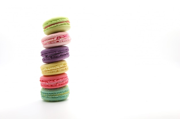 Cake macaroon isolated on white background from front, colorful cookies, pastel colors