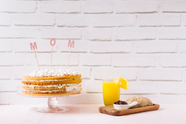 Cake and orange juice for mother day